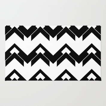 chevron pattern in black and white Area & Throw Rug by VanessaGF