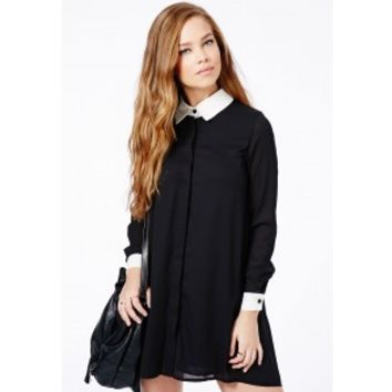 Missguided - Callie Monochrome Collared Shirt Dress