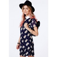 Missguided - Calliea Collared Shift Dress In Daisy Print
