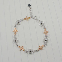 Sterling silver bracelet mix some rose gold plated cross