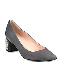 Kate Spade New York - Danika Jeweled-Heel Suede Pumps - Saks Fifth Avenue Mobile