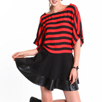 STRIPED WOVEN DOLMAN BLOUSE