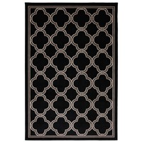 Woven Indoor/Outdoor Parsonage Rug -  Black