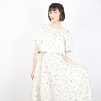Vintage Ivory Dress Cream Dress Beige Dress Floral Print Flutter Sleeve Angel Sleeve Dress Midi Dress Disco Dress Hippie Dress Boho S Small
