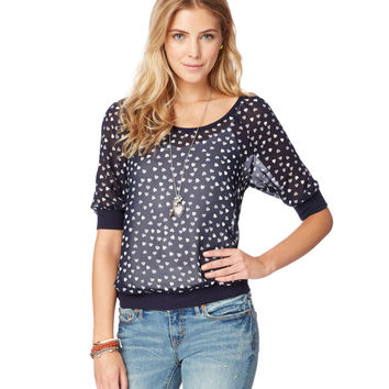 3/4 SLEEVE SHEER HEARTS TOP