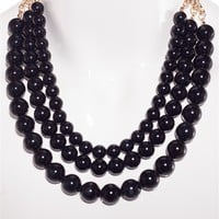 Stranded in Style Multi Strand Short Pearl Necklace - Black