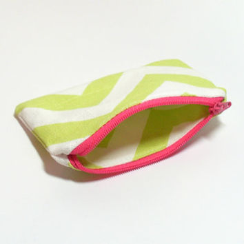 Lime Coin Purse - Lime and Pink - Cute Coin Purse - Chevron - Change Purse - Coin Zipper Pouch - Party Favors - Purse Accessory - Small Bag