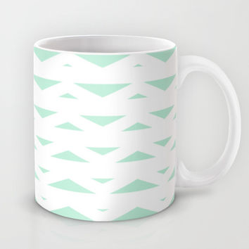 Tribal Triangles Mint Green Mug by BeautifulHomes | Society6