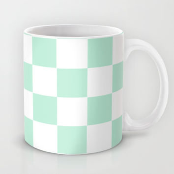 Checkers Square Mint Green Mug by BeautifulHomes | Society6