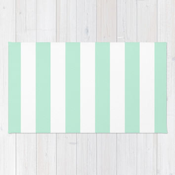 Stripe Vertical Mint Green Area & Throw Rug by BeautifulHomes | Society6