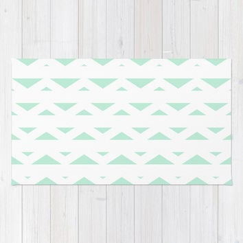 Tribal Triangles Mint Green Area & Throw Rug by BeautifulHomes | Society6