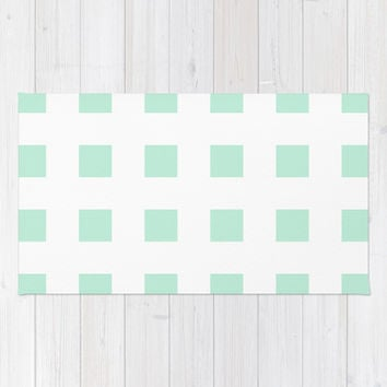 Cross Squares Mint Green Area & Throw Rug by BeautifulHomes | Society6