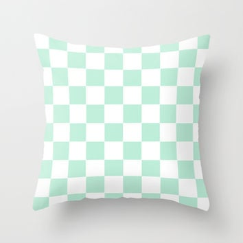 Checkers Square Mint Green Throw Pillow by BeautifulHomes | Society6