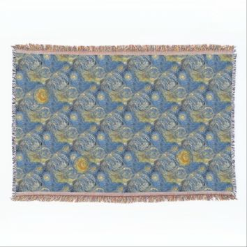 Starry Sky Moon Blue Throw Blanket