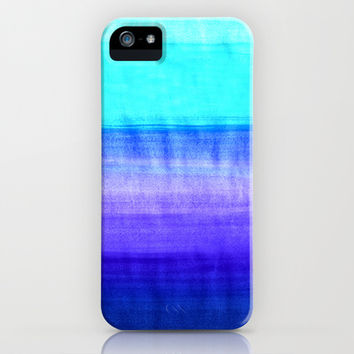 Ocean Horizon - cobalt blue, purple & mint watercolor abstract iPhone & iPod Case by Tangerine-Tane