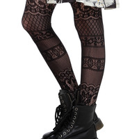 LOVEsick Lace Stripe Fishnet Tights
