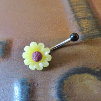 Mini 16 Gauge Sunflower Rook Eyebrow Jewelry Stud Ring- Daisy Eye Brow Piercing Bar Barbell Yellow Flower Azeetadesigns