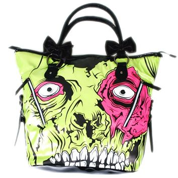 "Women's ""Zombie Chomper"" Handbag by Iron Fist (Green)"