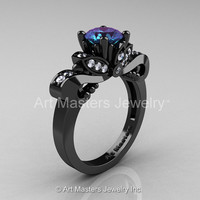 Classic 14K Black Gold 1.0 Ct Alexandrite Diamond Solitaire Engagement Ring R323-14KBGDAL