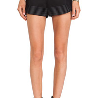 Robert Rodriguez Quorra Striped Embroidery Shorts in Black