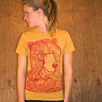 Womens Bear Shirt - Womens Crew Neck Mustard T Shirt - Crewneck Bear Shirt - Eco Friendly - Eco Clothing - Bear Print - Teddy Bear