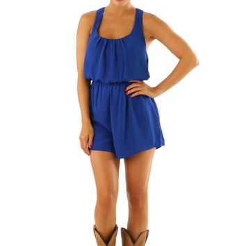 Never Let You Down Romper: Royal Blue