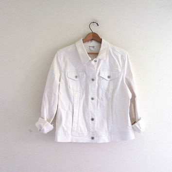20% OFF STOREWIDE! vintage white jean jacket // women's size Xl
