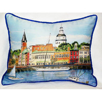 Coastal Home Decor Accents â?? Annapolis City Dock Small Outdoor/Indoor Pillow