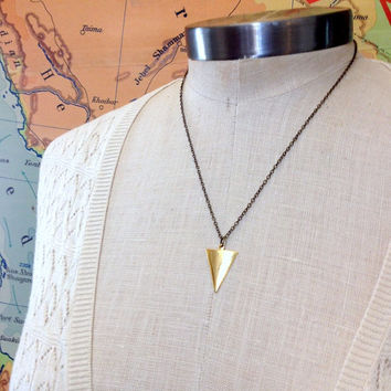 brass triangle necklace // geometric necklace // layering necklace // gold triangle necklace // minimal jewelry // everyday wear