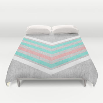 Teal, Pink and White Chevron on Silver Grey Wood Duvet Cover by Tangerine-Tane | Society6