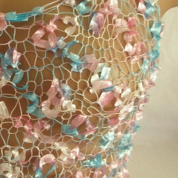Hand knitted pink blue transparent low back blouse for by Arzus