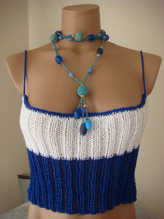 Hand knitted gorgeous low back blue and white tank by Arzus
