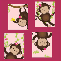 Monkey Nursery Art for girl or boy Set of Four by LittlePergola