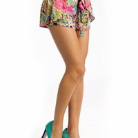 draped tropical print shorts $27.60 in PINKMULTI - Shorts | GoJane.com