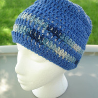 Beanie For DAD in Blue with Variegated Stripes   by toppytoppy