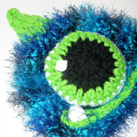 monster hat  baby boy photo prop  blue monster by crochetedcuddles