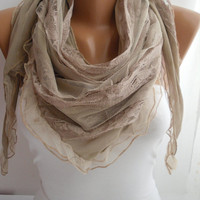 Beige Elegance Scarf Shawl by DIDUCI on Etsy