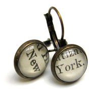 New York NYC Recycled Library Card Word Earrings by writtennerd
