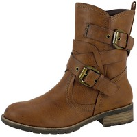 Womens Ankle Boots Wrap Around  Buckle Strap Motorcycle Riding Shoes Tan SZ