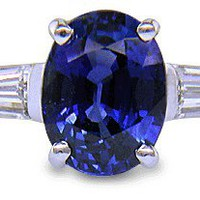 Sapphire Ring with Tapered Baguette Diamonds - Bijoux Extraordinaire