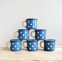 Vintage Polka Dot Enamel Mugs by lovintagefinds on Etsy
