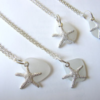 Starfish Necklace with seafoam white Sea Glass by SeaglassGallery