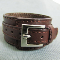 Cool Bracelet Adjustable handmade Brown Leather by sevenvsxiao