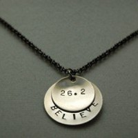 BELIEVE IN THE DISTANCE 5K, 10K, HALF MARATHON, MARATHON Necklace - Choose 3K, 5K, 10K, 13.1, 26.2 - Nickel Silver pendants with 18 inch gunmetal chain