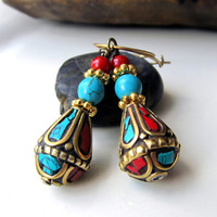 Nepalese Turquoise Earrings Red Coral Turquoise by ByGerene