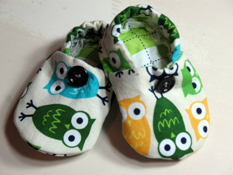 Baby Crib Shoes Boys Owls Green Yellow Blue | Luulla