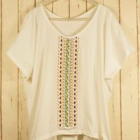 Off-white Party Top - Bohemian Embroidery T-shirt | UsTrendy