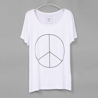 Women Shirt  Peace  White by zzzAfternoon on Etsy
