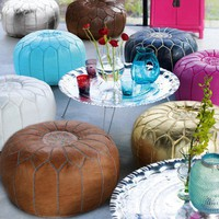 Moroccan Leather Pouffes - Pouffes  Bean Bags - Furniture