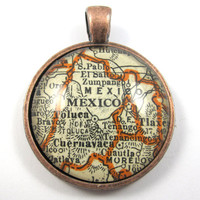 Mexico City Mexico Pendant from Vintage Map by CarpeDiemHandmade